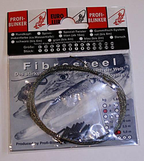 20 Quetschhülsen ! PROFI BLINKER FIBRESTEEL 5m Stahlvorfach Edelstahl 8 Kg incl
